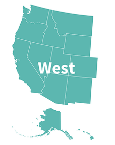 USA map west: Alaska, Arizona, California, Oregon, Nevada, Idaho, Hawaii, Montana, Colorado, New Mexico, Washington, Wyoming, Utah.