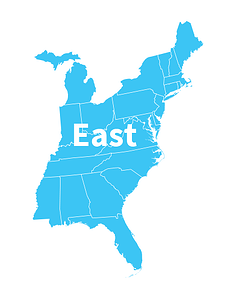 USA map east state: Maine, New Hampshire, Vermont, Massachusetts, Rhode Island, Connecticut, New Jersey, Delaware, Maryland, West Virginia, North Carolina, South Carolina, Alabama, Georgia, Florida, Mississippi, Tennessee, Kentucky, Indiana, Ohio, Pennsylvania, New York, Michigan, and Virginia.