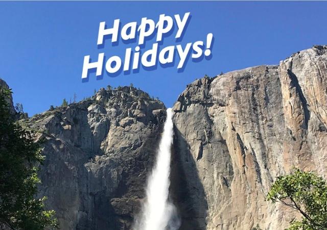 Happy Holidays! Above Yosemite Falls in Yosemite National Park, California