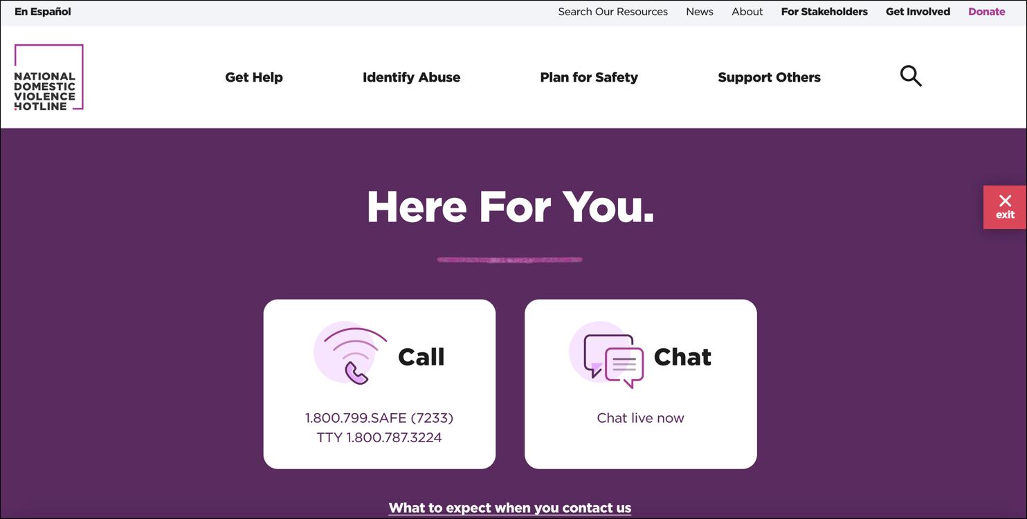 Screenshot of the National Domestic Violence Hotline Website-1